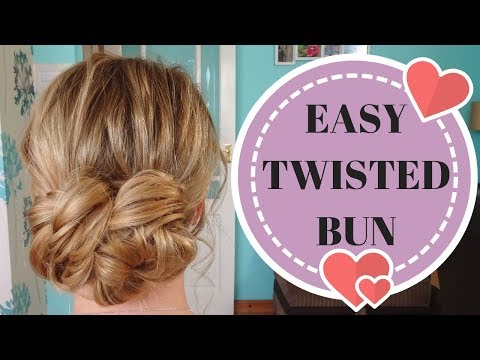 How to do a simple low twisted bun hairstyle - easy 10 minute updo