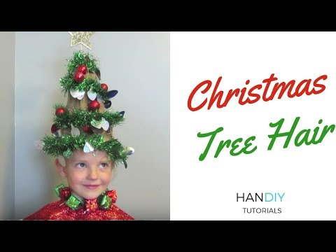 Christmas Tree Hair Tutorial - Crazy Hair Day - Ugly Sweater Party