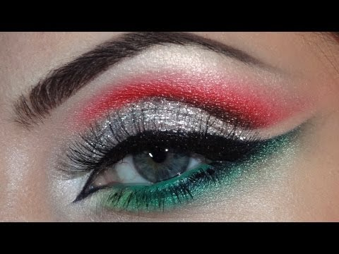 Christmas makeup (silver, red, green)