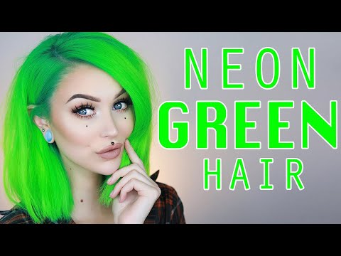 Dyeing my Hair Neon Green At Home | Evelina Forsell