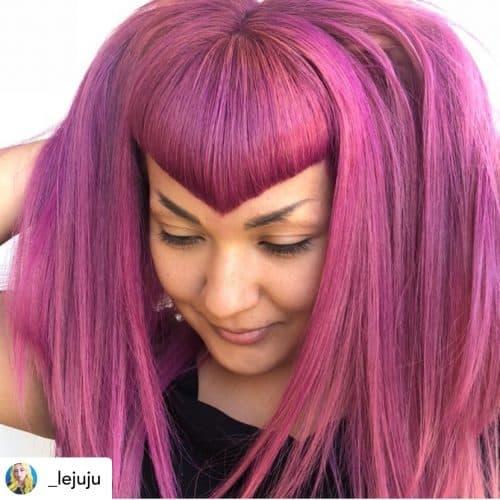 V bangs on beautiful pink hair.