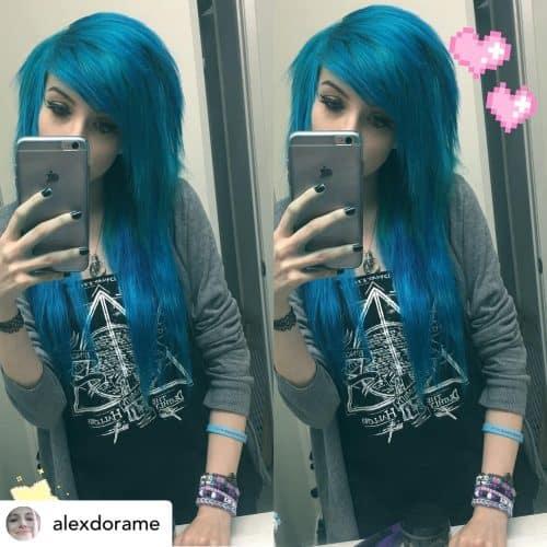 Emo scene bangs on beautiful blue hair.