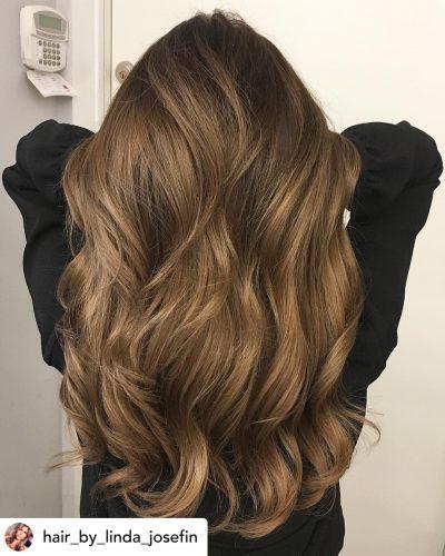 Beautiful golden brown hair color.