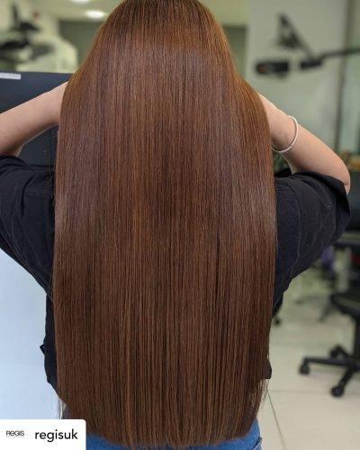 Beautiful chestnut hair color.