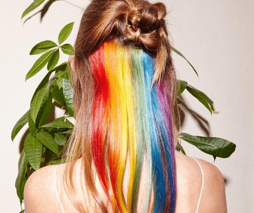 Hidden rainbow hair color.