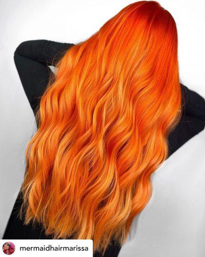 Beautiful copper orange hair color.