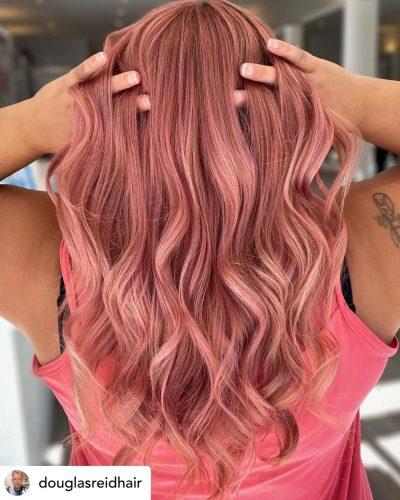 Beautiful rose gold hair color.