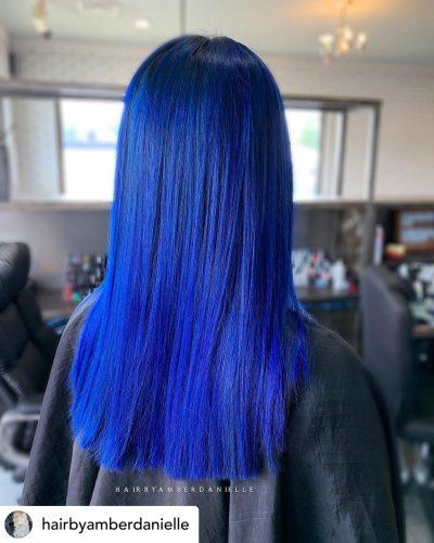 Beautiful cobalt blue hair color.