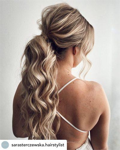 Beautiful low ponytail bridal hair/bridesmaid updo hairstyle.