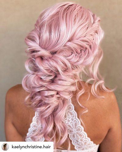 Beautiful braided low ponytail bridal hair/bridesmaid updo hairstyle.