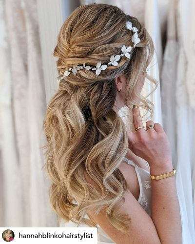 Beautiful half-up twisted bridal hair/bridesmaid updo hairstyle.
