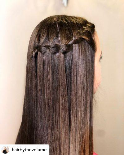 Beautiful braided headband hairstyle for homecoming.
