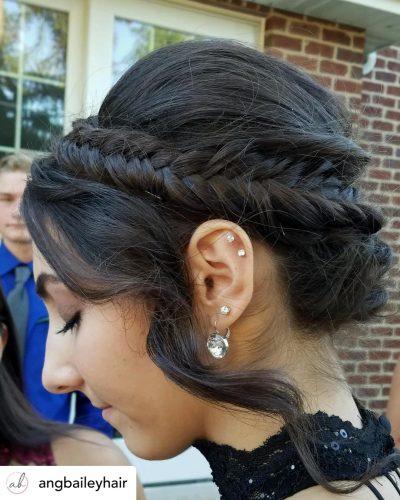 Beautiful braided headband updo hairstyle for homecoming.