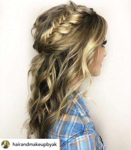Beautiful braided headband half-up hairstyle for homecoming.